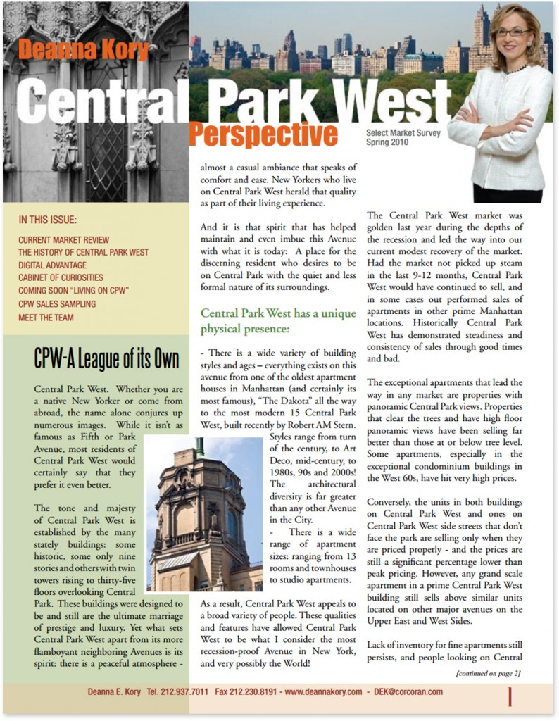 Deanna Kory Central Park West Newsletter