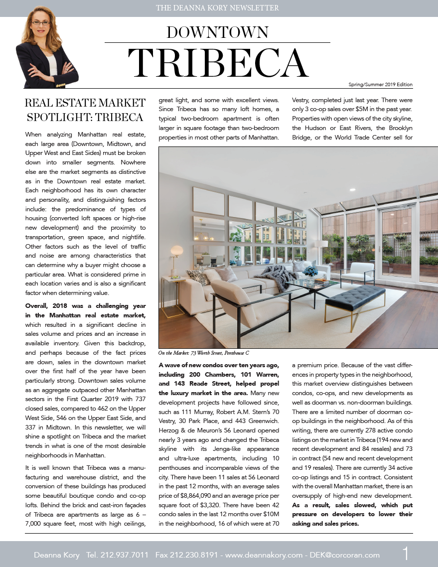 Tribeca Newsletter Spring/Summer 2019